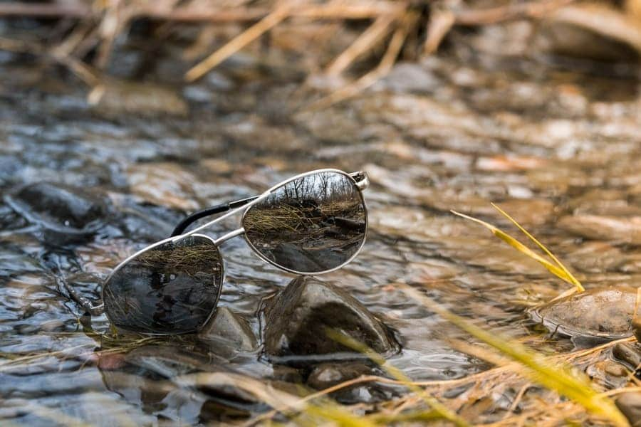 Lost glasses on the ground of pine forest.