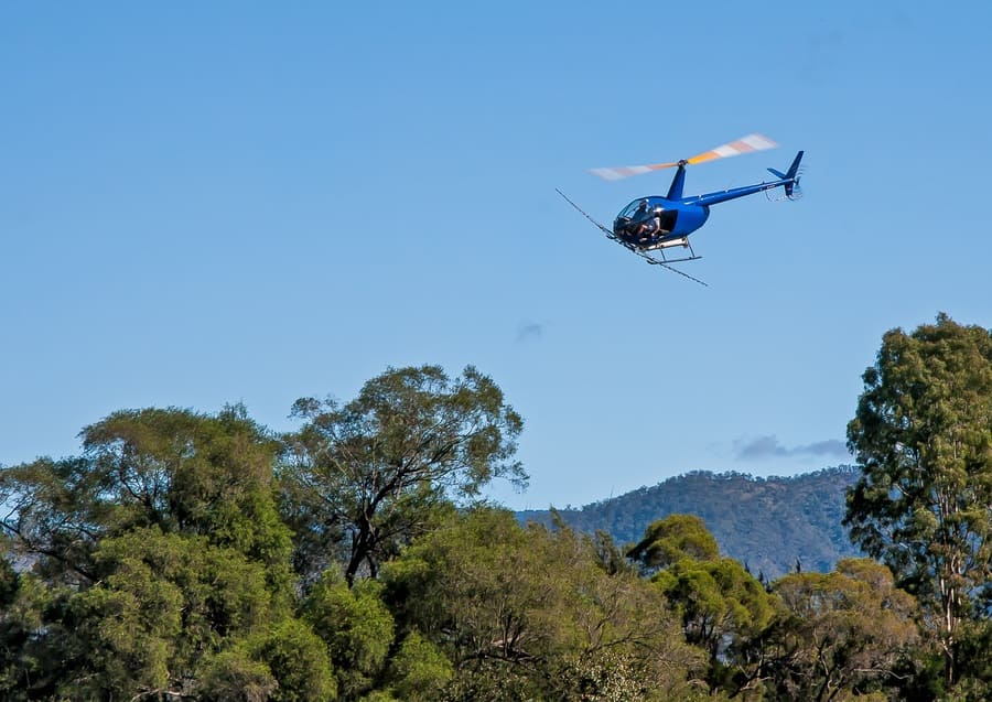 A helicopter flies over the forest