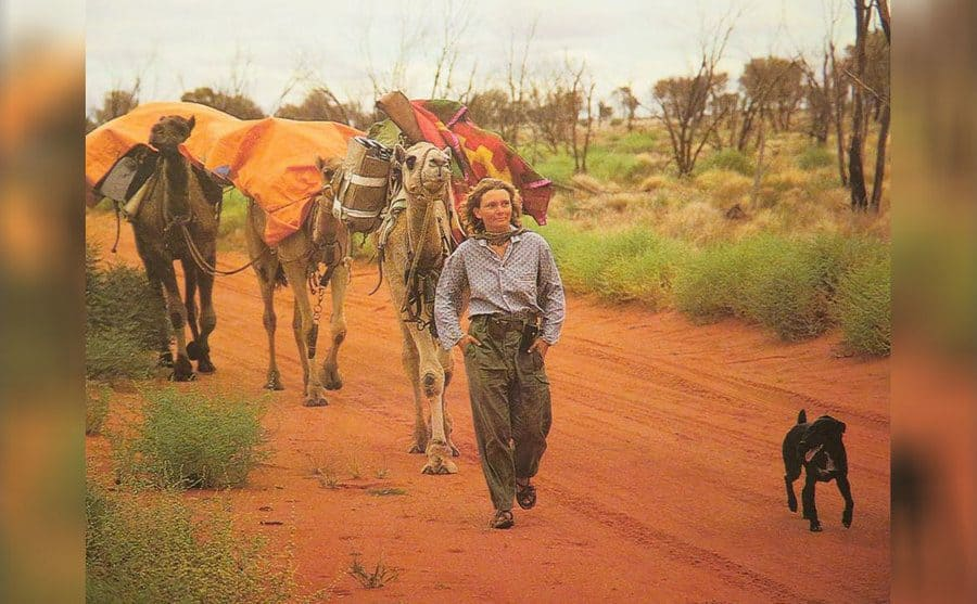 Robyn with her camels and Diggity