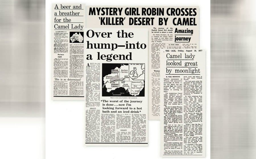 Newspaper clippings for the mystery camel lady