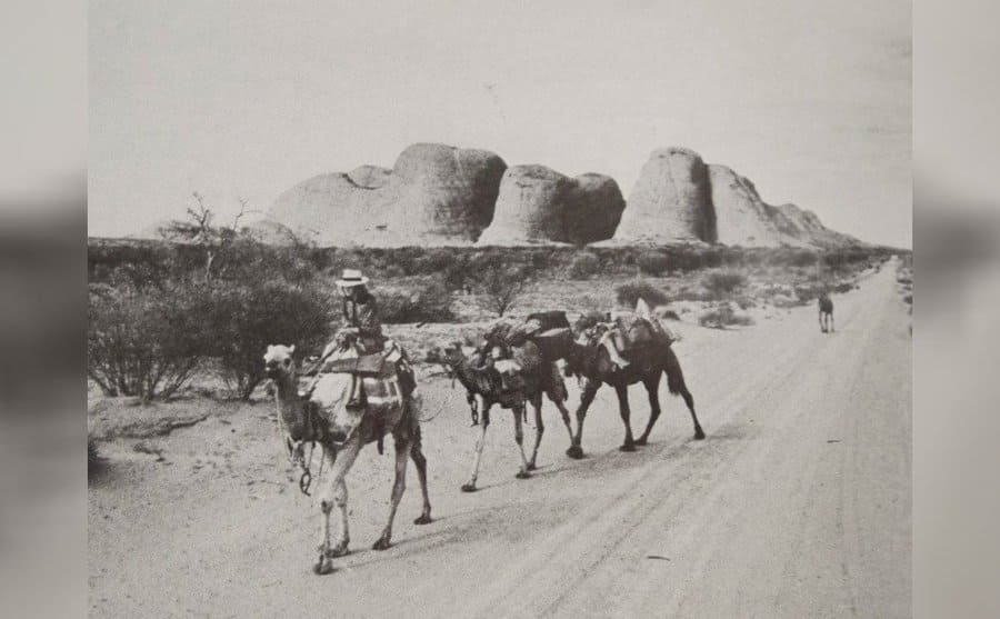 Robyn leaving the Olgas after camping for a week with her riding Bubby and Zeleika, Dookie, and Goliath behind