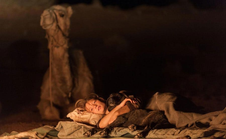 Mia Wasikowska camping out under the stars
