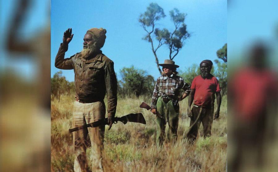 Joseph and Leslie, two tribal elders, took Robyn rabbit hunting