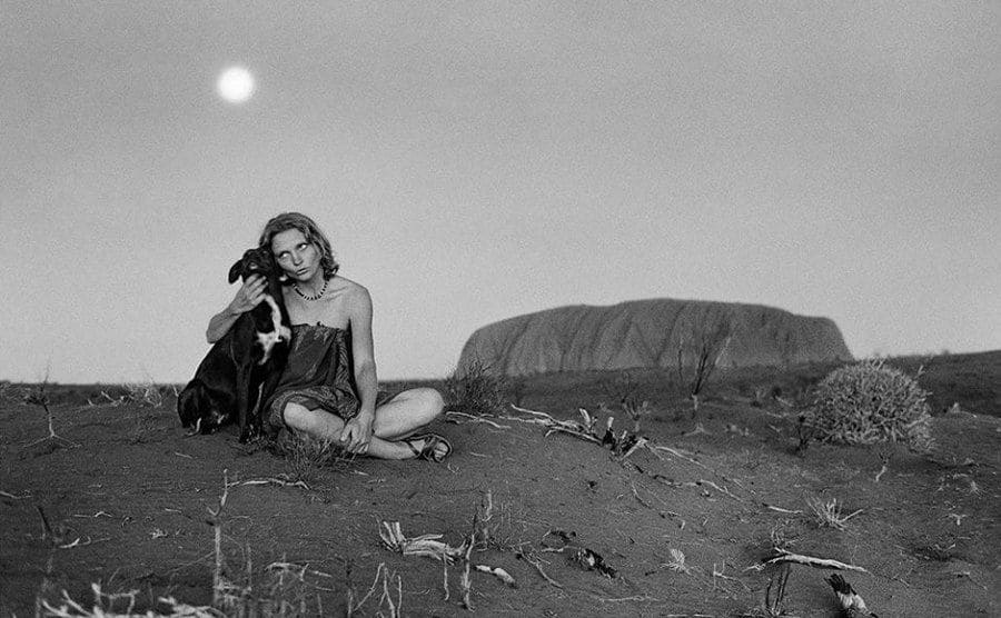 Robyn and Diggity in the outback in 1977