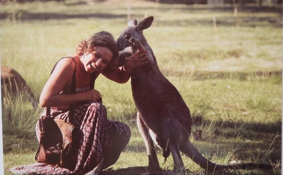 Robyn Davidson with a baby kangaroo