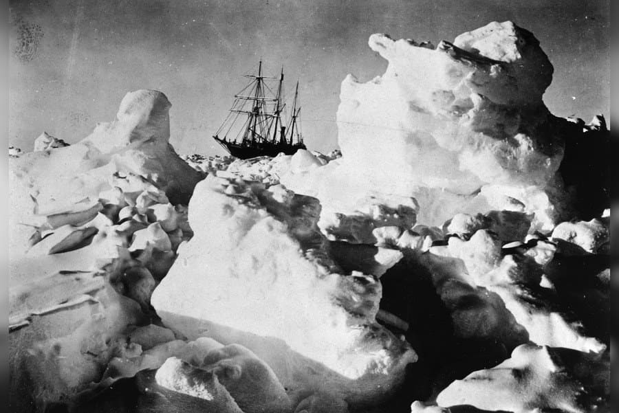 Polar explorer, Ernest Shackleton's ship, ENDURANCE, trapped in Weddell Sea pack ice in Antarctica in 1916.