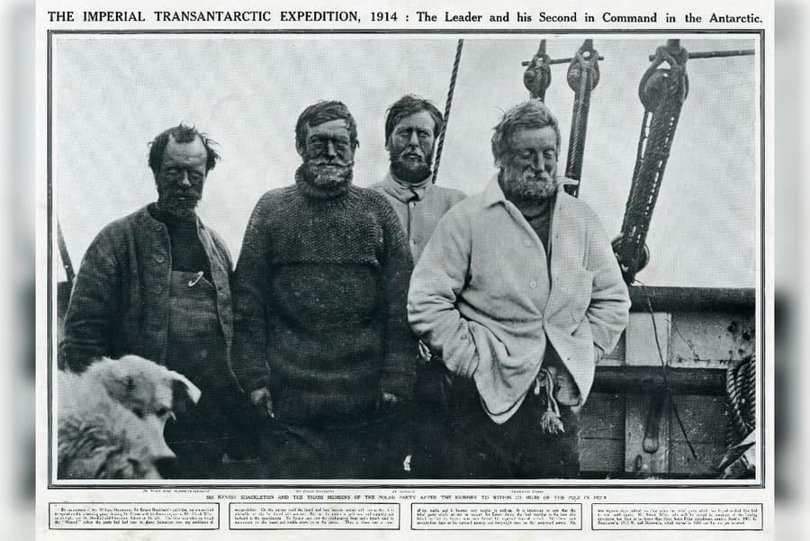 Sir Ernest Shackleton and Three Members of A Polar Exploration Party