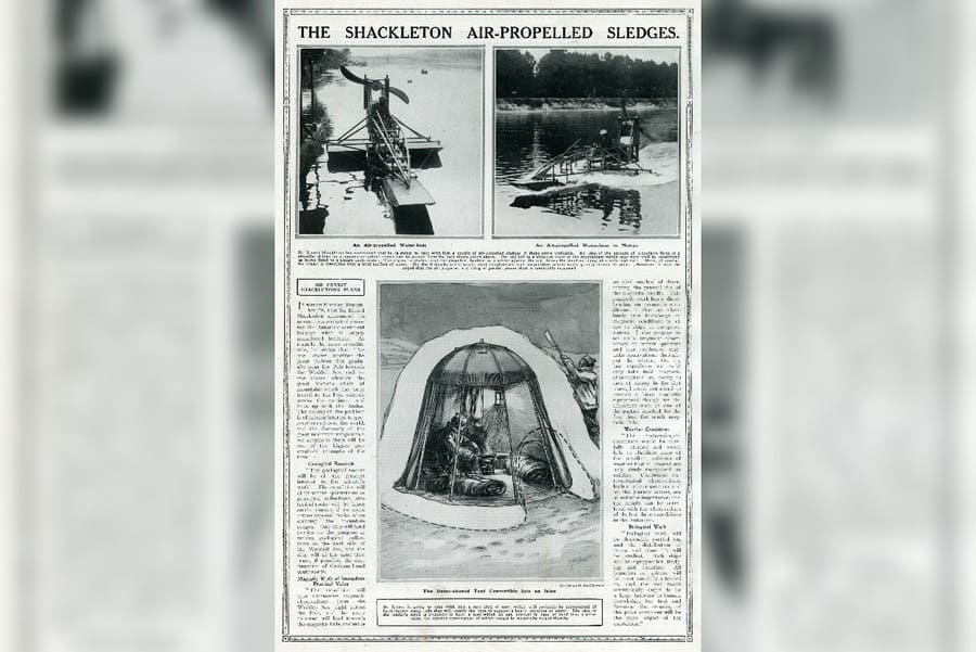 Sir Ernest Shackleton's Air-propelled Sledges Intended For Use in the Trans-antarctic Expedition
