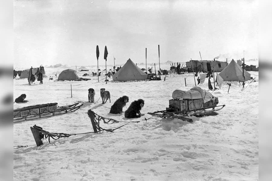 Ocean Camp, supplies are collected from the failing ship and laid on the ice.