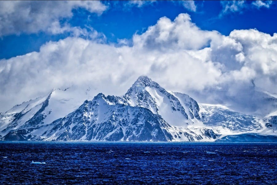 snow-covered mountains of Elephant Island in Antarctica