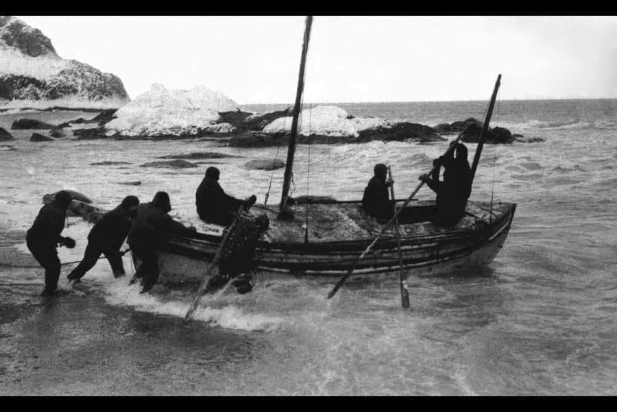 Launching the James Caird from the shore of Elephant Island