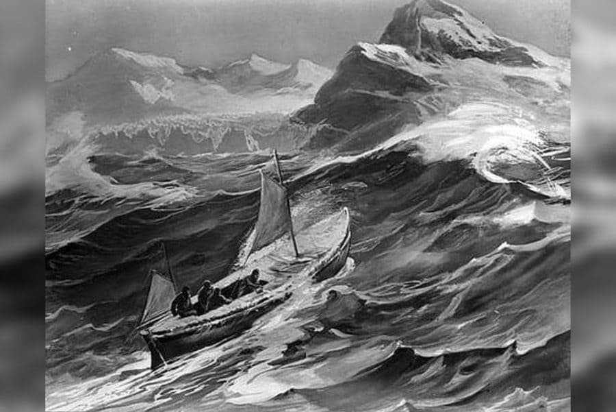 Depiction of the James Caird nearing South Georgia
