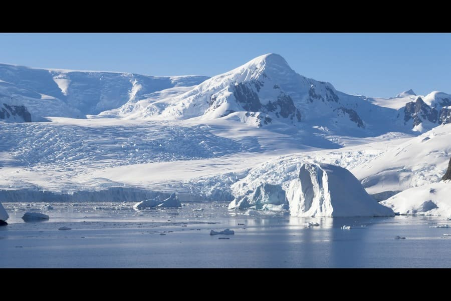 Coast of Antarctica. Glaciers and icebergs of the Southern hemisphere.