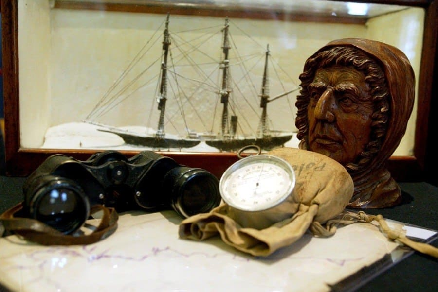 A Carving of Sir Ernest Shackleton, With Binoculars