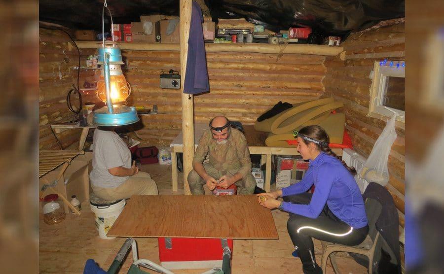 Aidan sitting with Heimo Korth and Edna Rose