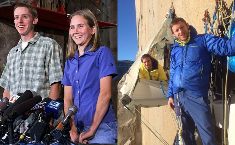 Beth Rodden and Tommy Caldwell being interviewed. / Tommy and Alex resting in tents attached to the wall with clips