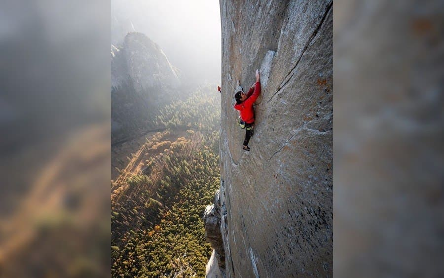 Tommy Caldwell climbing a mountain
