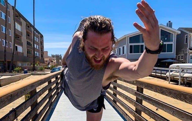 Mike Posner doing Yoga