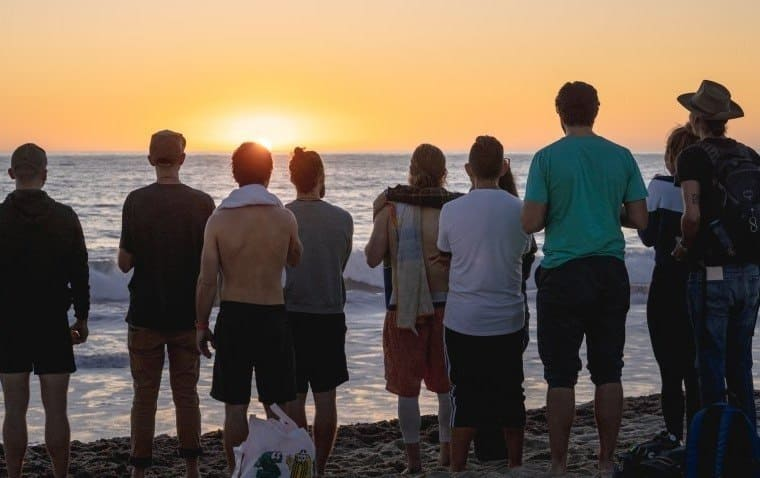 Posner with his friends on Venice Beach