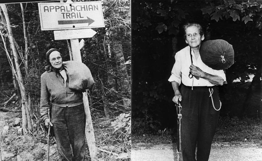 """Emma """"Grandma"""" Gatewood with the Appalachian Trail sign behind her / Emma """"Grandma"""" Gatewood standing with her cane and a bag of personal items"""