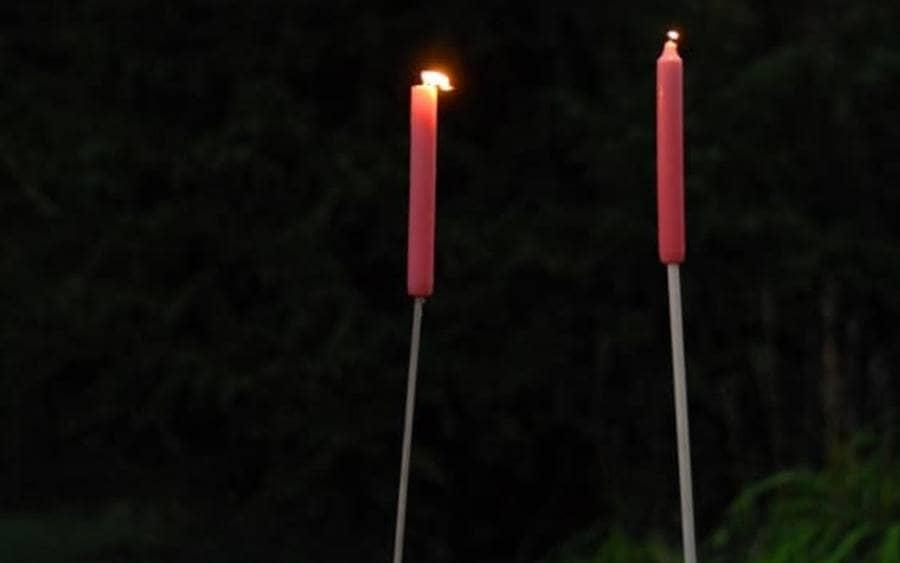 Candles on sticks