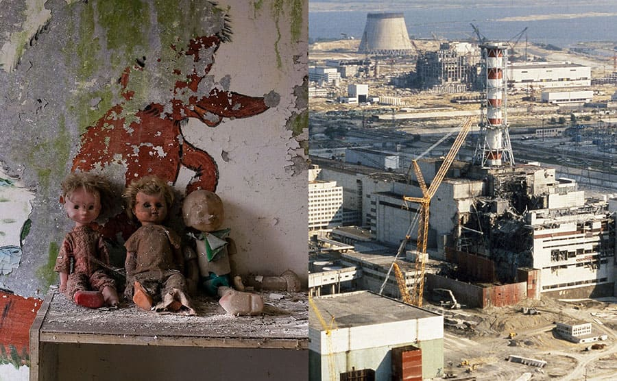 Dolls sitting in an abandoned nursery school. / The Chernobyl nuclear plant