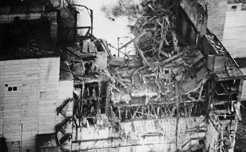 The Chernobyl reactor after the explosion
