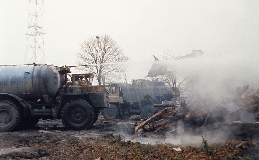 Radiation decontamination efforts in the village of Andreyevka.