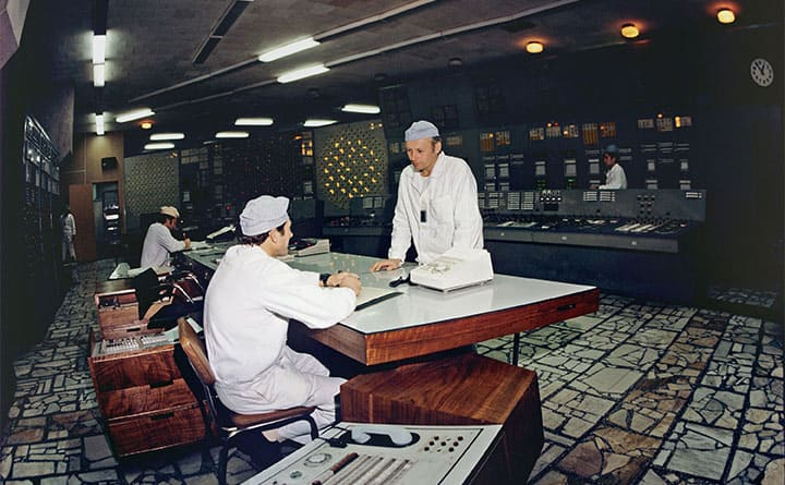 The unit control desk of the Chernobyl nuclear power plant April 18th, 1983.