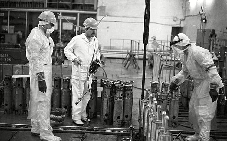 Workers in the Chernobyl nuclear power plant circa the 1990s.