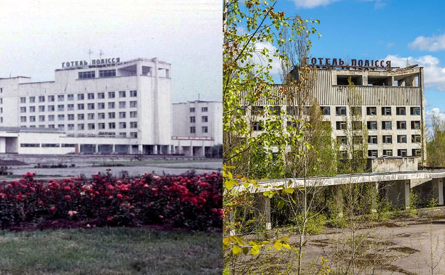The hotel before Chernobyl / The hotel run down and surrounded with new trees and plants