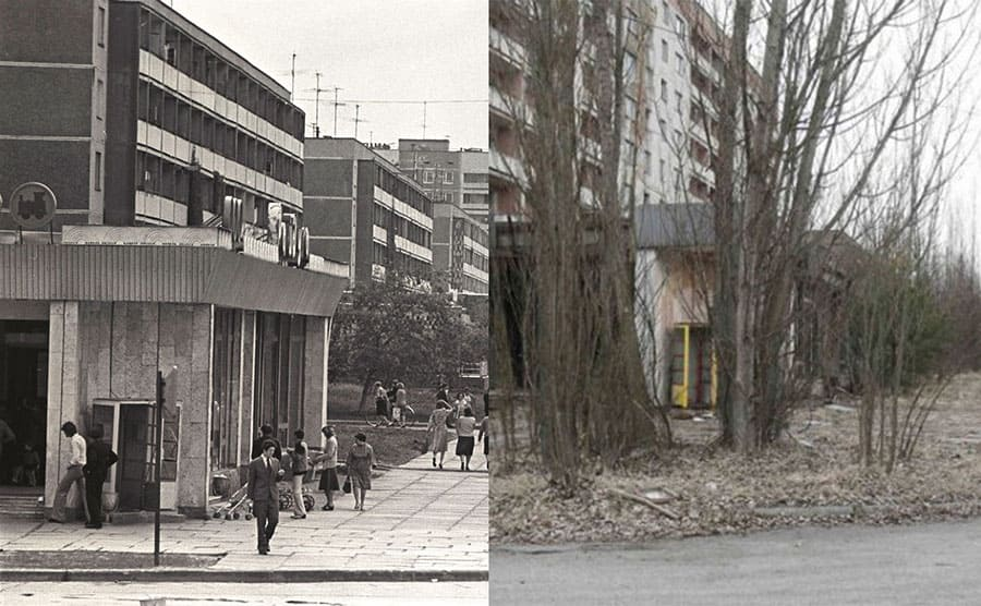 A street corner filled with people next to a photograph of the same street corner abandoned after Chernobyl