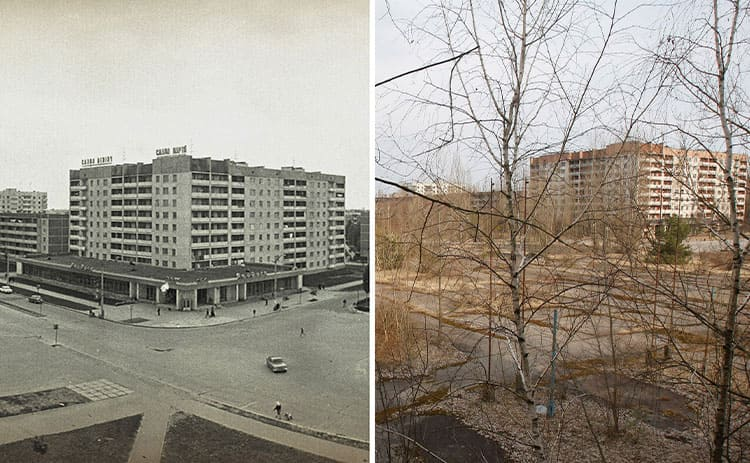 A before and after shot of a street with buildings effected by Chernobyl