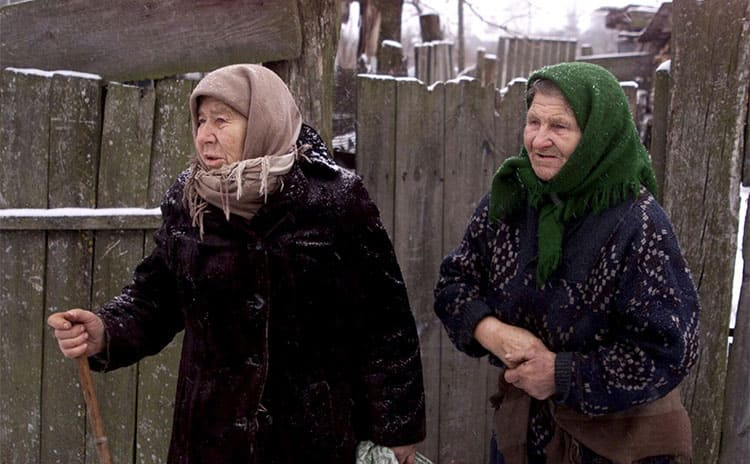 Two older women who have returned to live in the exclusion zone around the Chernobyl site.
