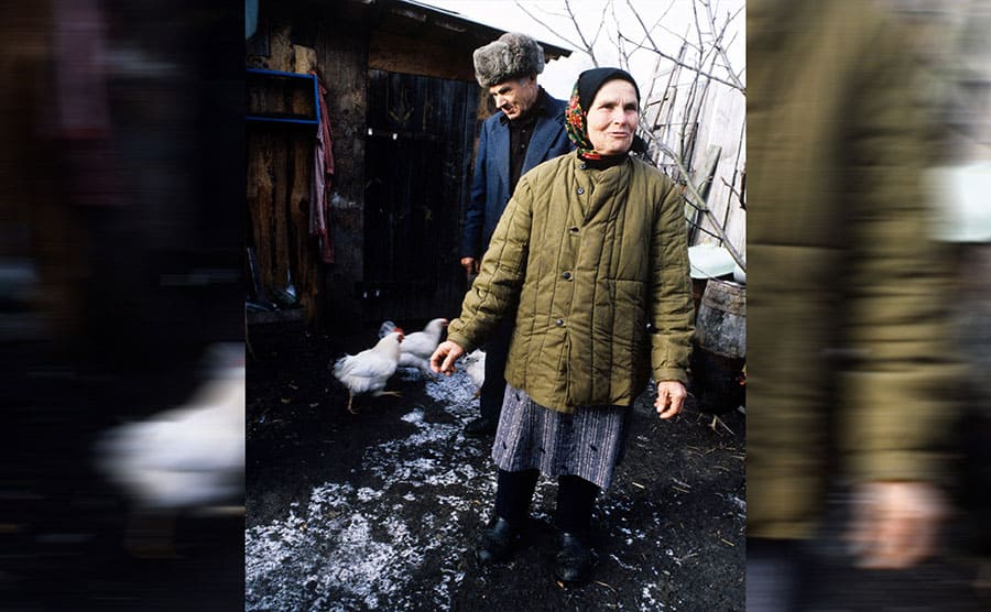 Nikolay and Maria Fhoskuta on their farm within the 10-kilometer exclusion zone