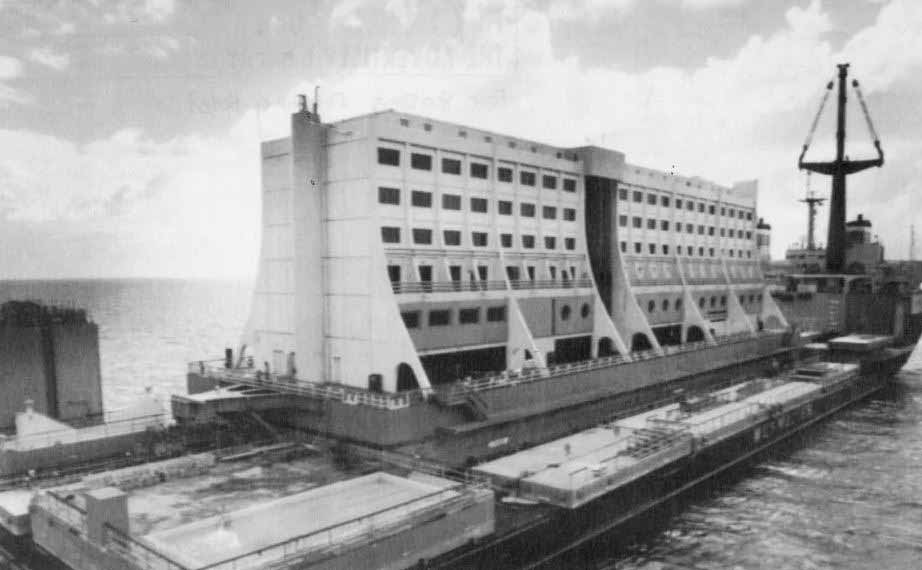 The floating hotel in black and white