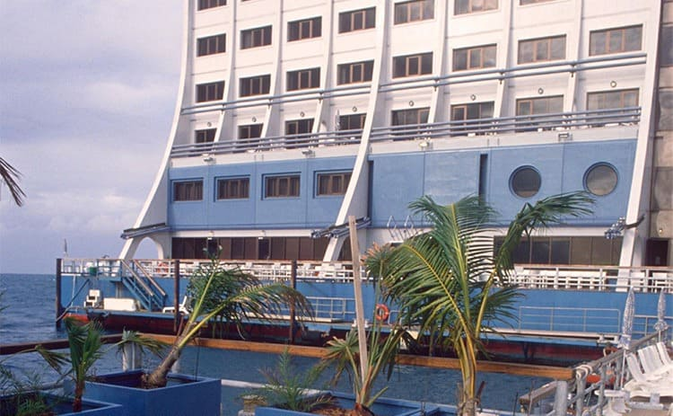 A photograph of the floating hotel