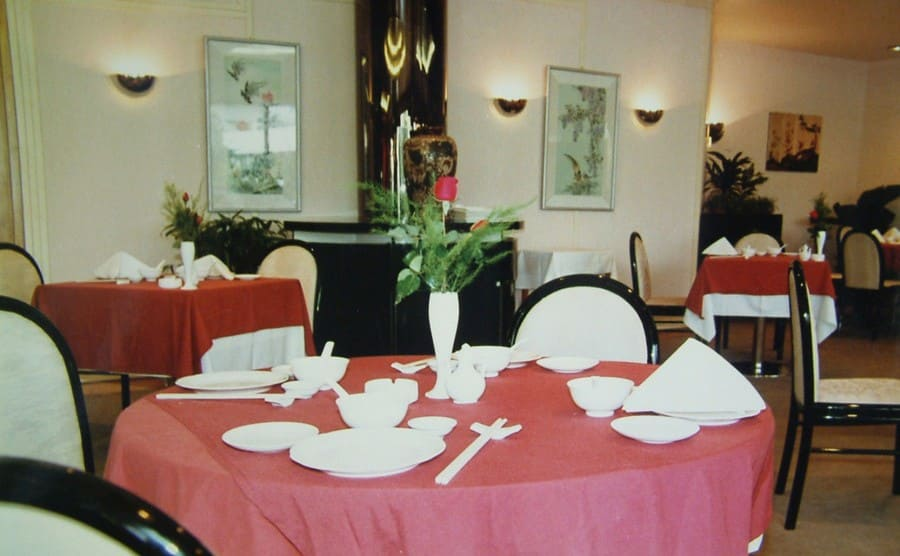 The empty fancy dining room in the Saigon floating hotel