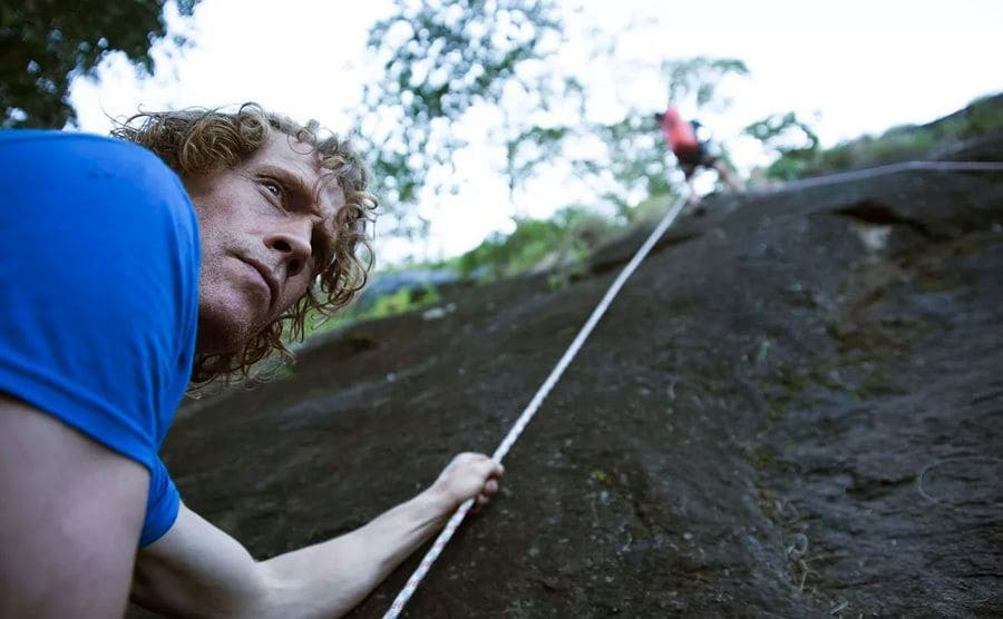 Julian Lines and Mike Robertson setting up static lines to climb Mount Lico