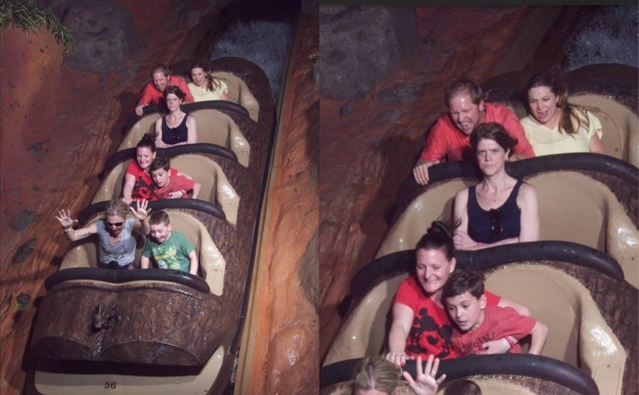 The angry woman sitting alone in a roller coaster row