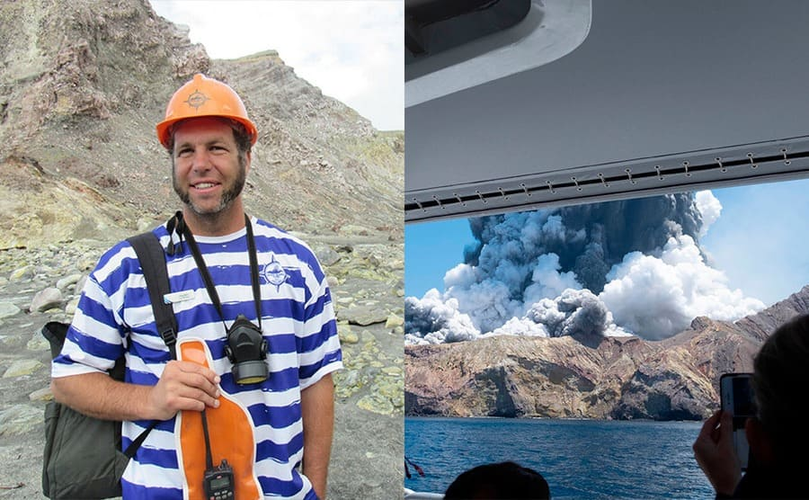 Hayden Marshall-Inman / People in the boat photographing the eruption with a large cloud of smoke coming out of the mountain