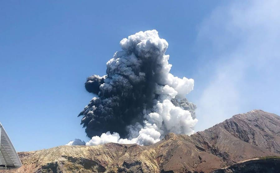 A cloud of smoke seen coming out of the volcano