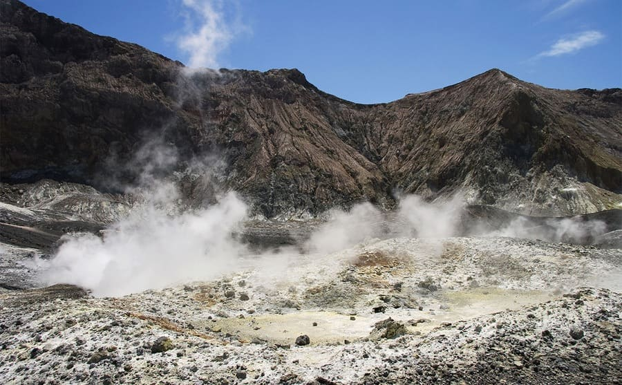 Sulphuric steam coming out of the ground on White Island