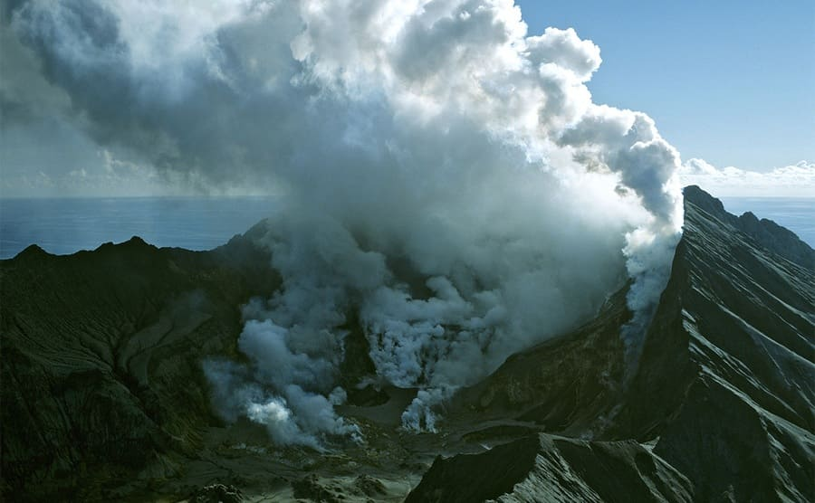 White Island with a small eruption