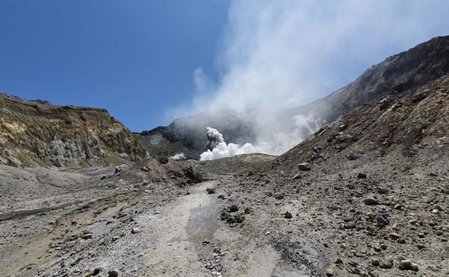 A photograph taken as the volcano started to erupt