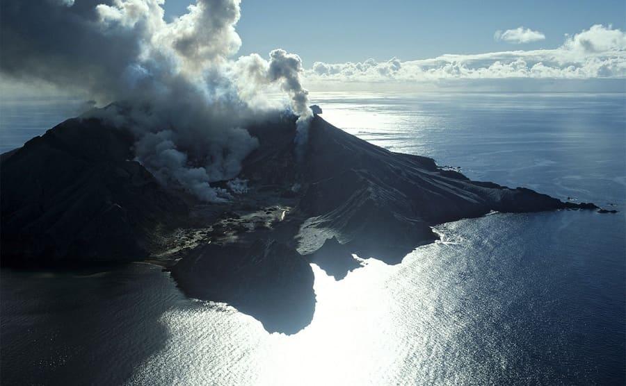 White Island erupting
