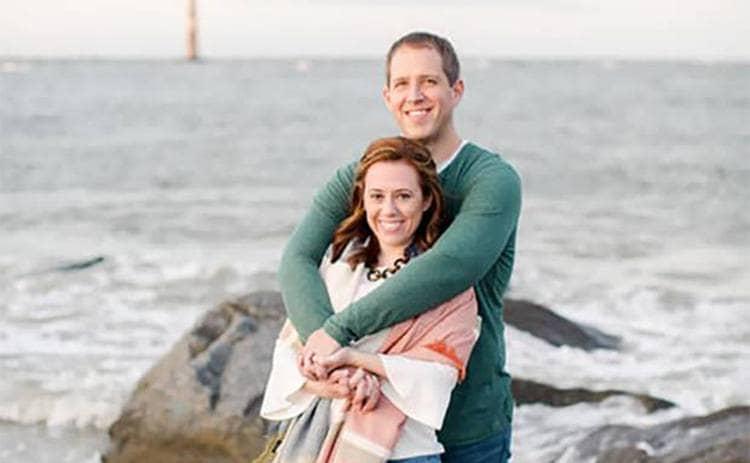 Matthew Urey and Lauren Barham on the shore
