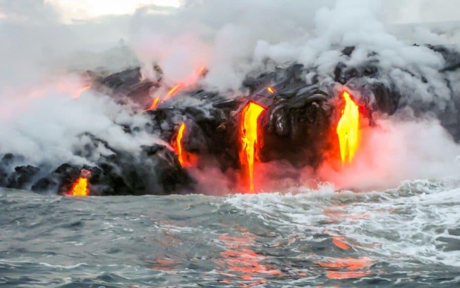 Sea view of Kilauea Volcano in Big Island, Hawaii, United States