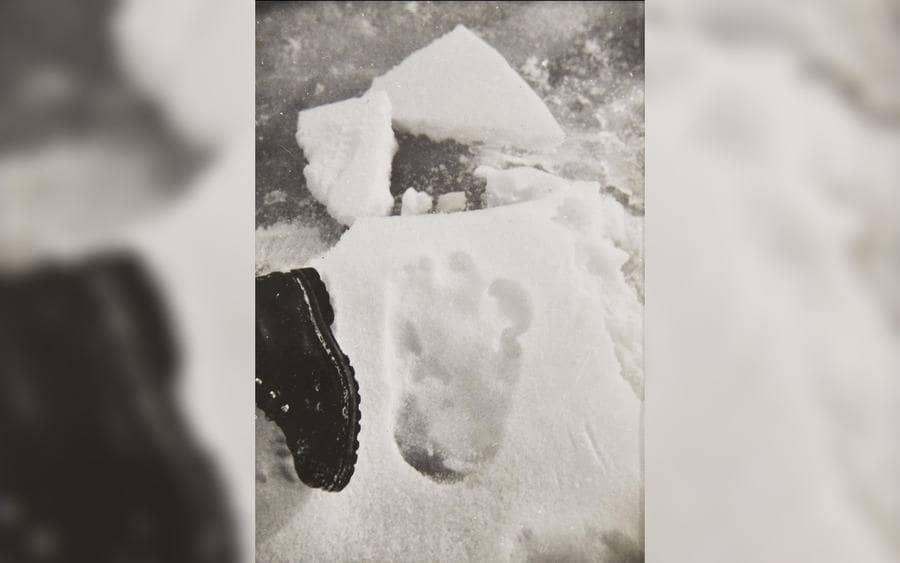 Yeti footprint photo taken by Eric Earle Shipton