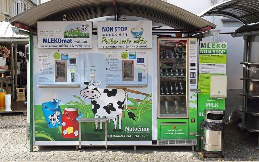 Milk vending machine in Ljubljana